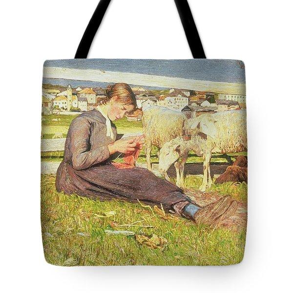 A Girl Knitting Tote Bag by Giovanni Segantini