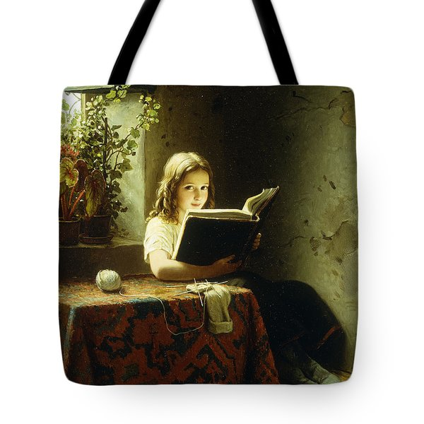 A Girl Reading Tote Bag
