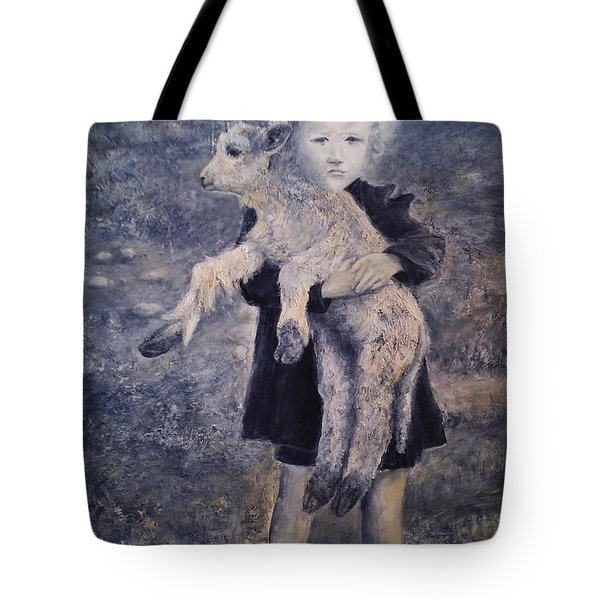 A Girl With A Lamb Tote Bag