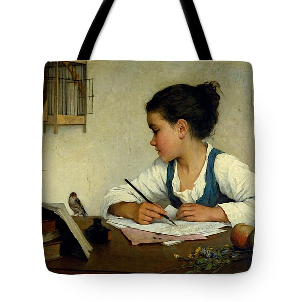 Tote Bag featuring the painting A Girl Writing. The Pet Goldfinch by Henriette Browne