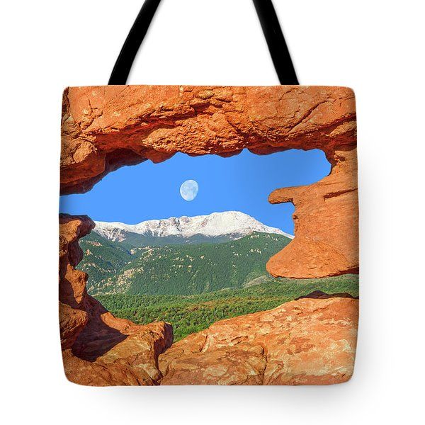 A Glimpse Of The Mighty Rockies Through A Rocky Window  Tote Bag
