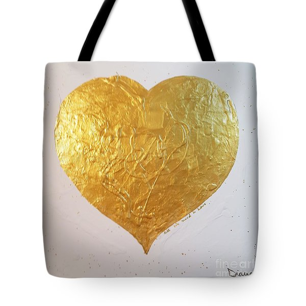 A Golden Heart Tote Bag by Diana Bursztein