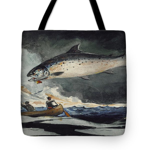 Tote Bag featuring the painting A Good Pool. Saguenay River by Winslow Homer