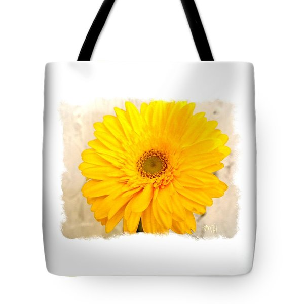 Tote Bag featuring the photograph A Grand Yellow Gerber by Marsha Heiken