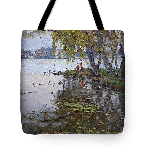 A Gray Rainy Day At Fishermans Park Tote Bag