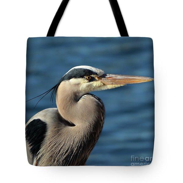 A Great Blue Heron Posing Tote Bag