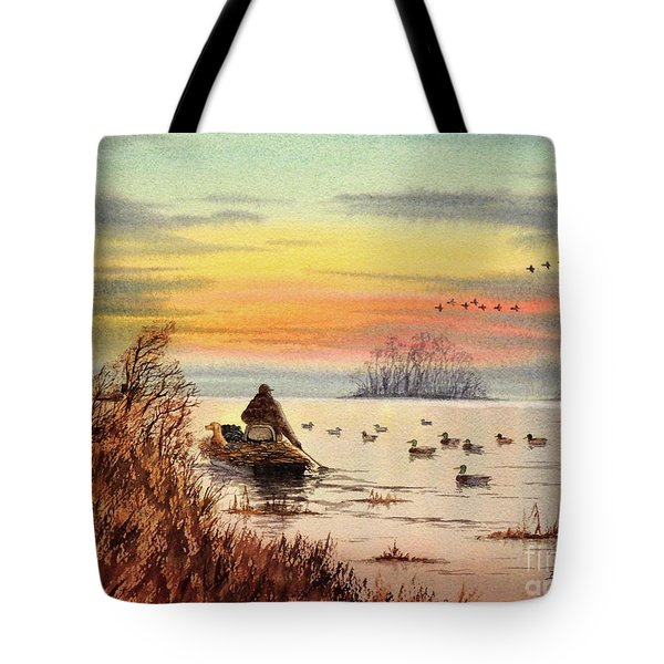 A Great Day For Duck Hunting Tote Bag by Bill Holkham