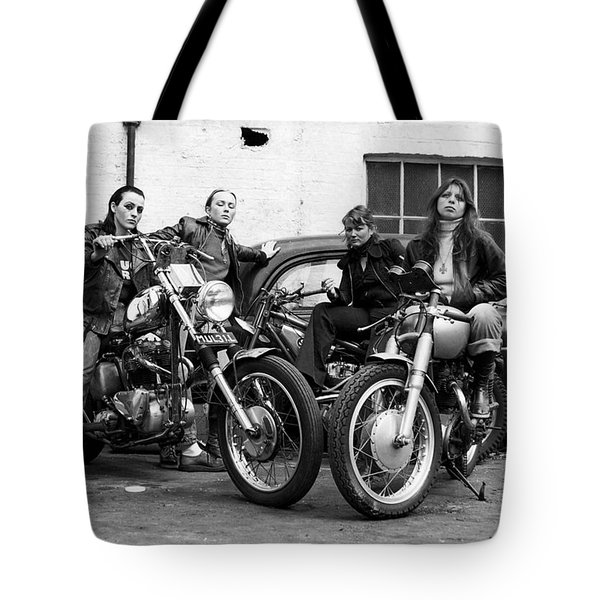 A Group Of Women Associated With The Hells Angels, 1973. Tote Bag by Lawrence Christopher