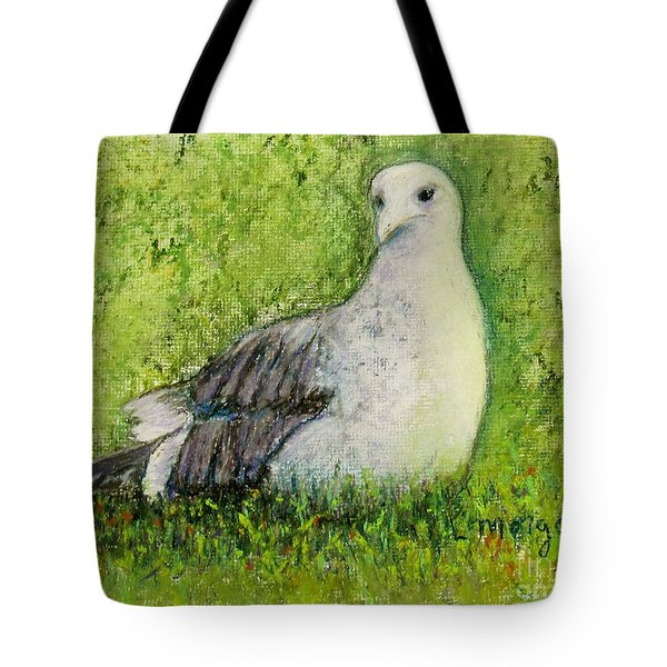 A Gull On The Grass Tote Bag
