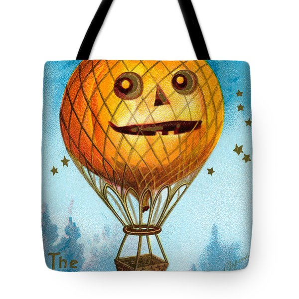 A Halloween Pumpkin Hot Air Balloon Tote Bag