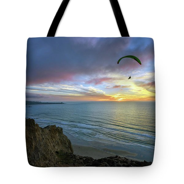 A Hang Glider And A Sunset Tote Bag