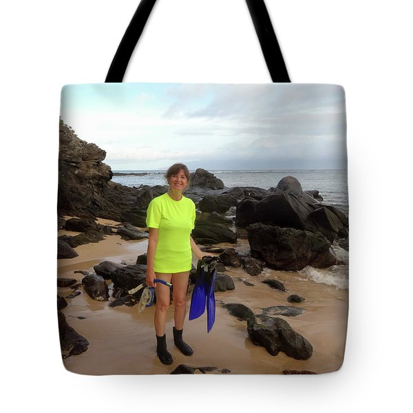 A Happy Snorkeler Set To Enter The Water, Kapalua Bay, Maui, Haw Tote Bag