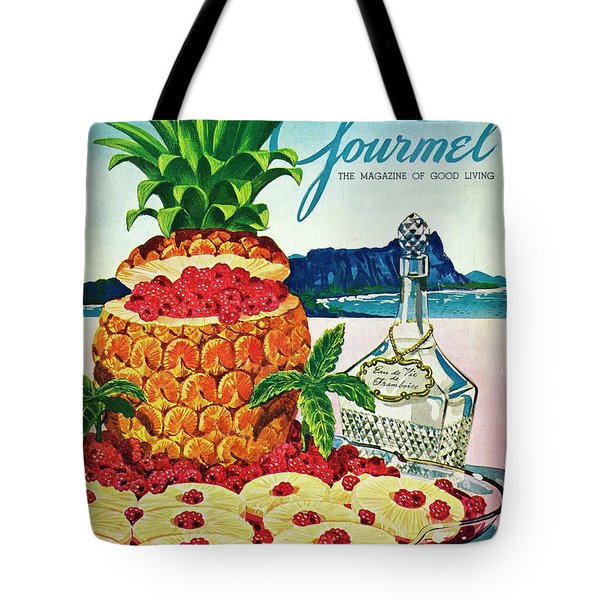 A Hawaiian Scene With Pineapple Slices Tote Bag