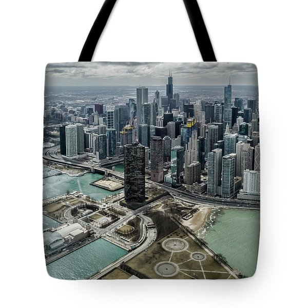 A Helicopter View Of Chicago's Lakefront Tote Bag