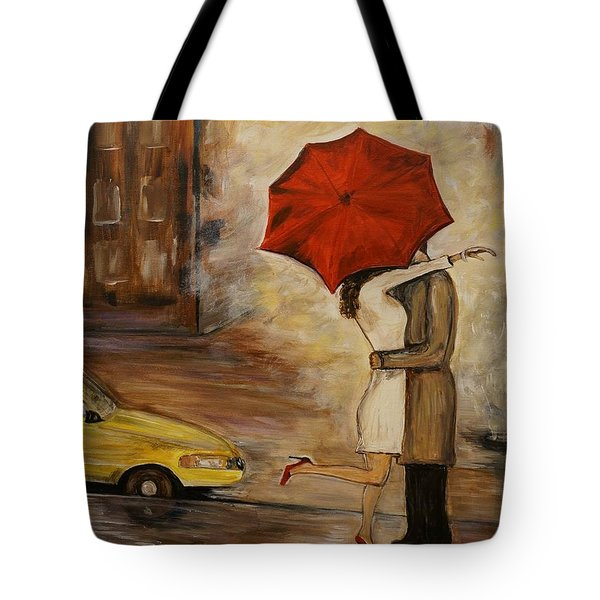 A Hello Kiss Tote Bag by Leslie Allen
