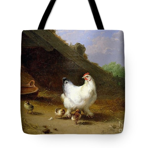 A Hen With Her Chicks Tote Bag