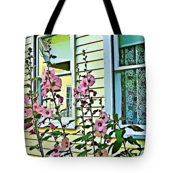 Tote Bag featuring the digital art A Holly Hocks Morning by Mindy Newman