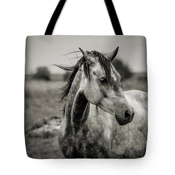 A Horse In Profile In Black And White Tote Bag