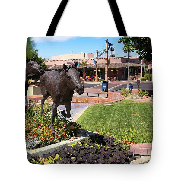 A Horse Sculpture And Old Town Boutiques, Scottsdale, Arizona Tote Bag