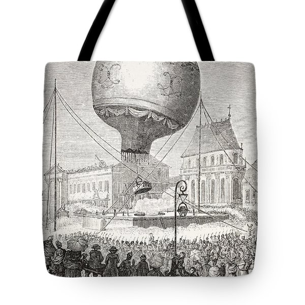 A Hot Air Balloon Ascends In Paris Tote Bag