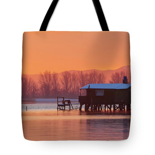 A Hut On The Water Tote Bag