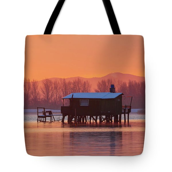 Tote Bag featuring the photograph A Hut On The Water by Davor Zerjav