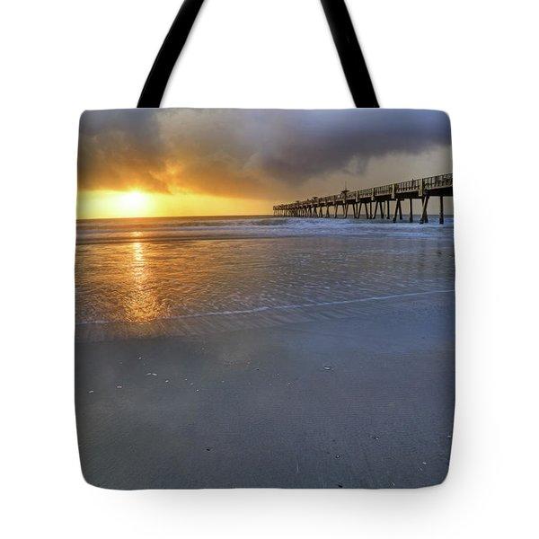 A Jacksonville Beach Sunrise - Florida - Ocean - Pier  Tote Bag