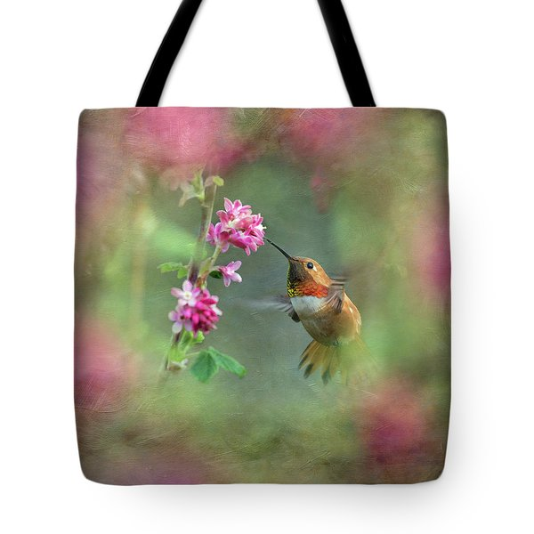 Tote Bag featuring the photograph A Jewel In The Flowers by Angie Vogel