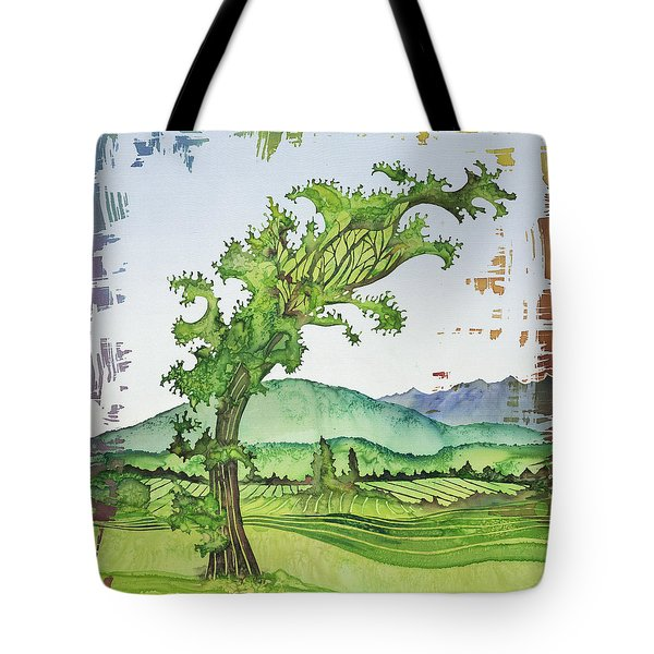 A Kale Leaf Visits The Country Tote Bag by Carolyn Doe