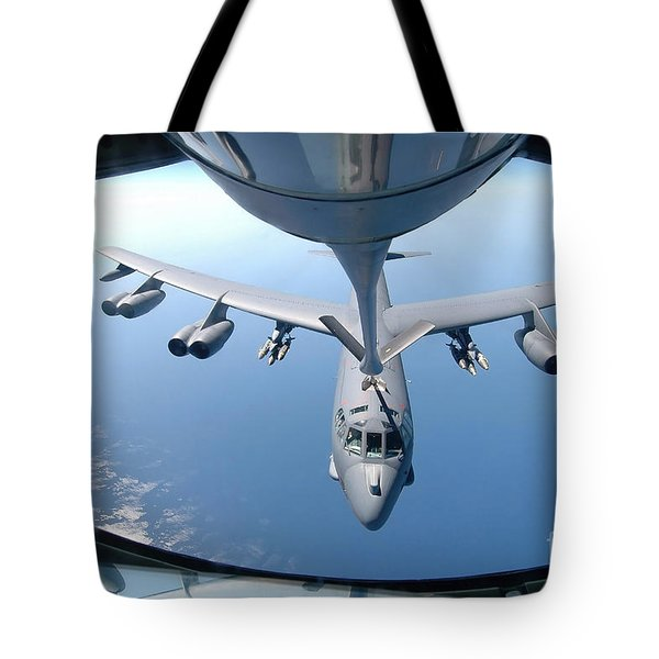 A Kc-135 Stratotanker Refuels A B-52 Tote Bag by Stocktrek Images