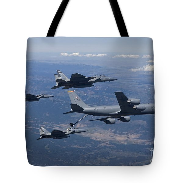 A Kc-135r Stratotanker Refuels Three Tote Bag by HIGH-G Productions