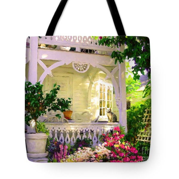 Tote Bag featuring the painting A Key West Porch by David  Van Hulst