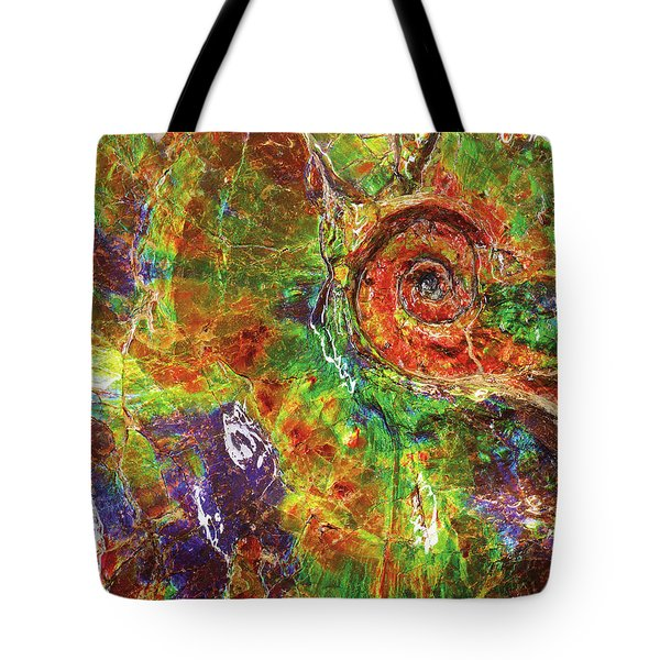 A Large Iridescent Ammonite Tote Bag