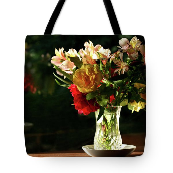 Tote Bag featuring the photograph A Light Through Yonder Window Breaks by Marion Cullen