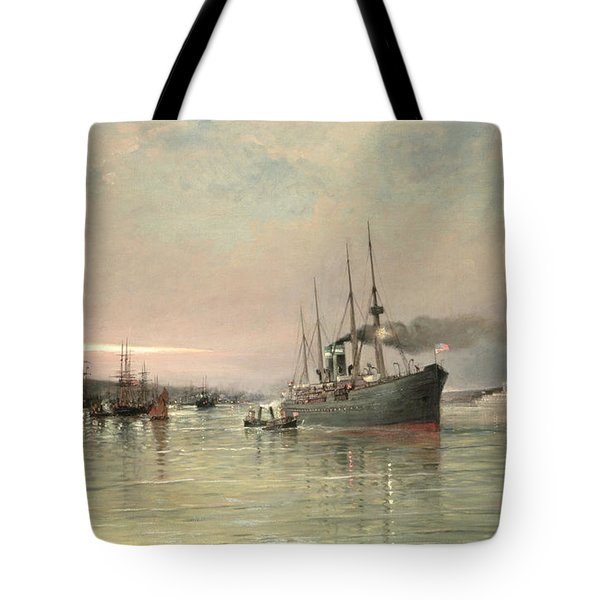 A Liner And Other Shipping Before The Statue Of Liberty Tote Bag by Pieter Christiaan Cornelis Dommelshuizen