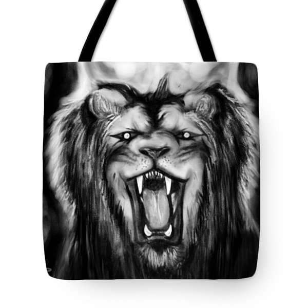 A Lion's Royalty B/w Tote Bag