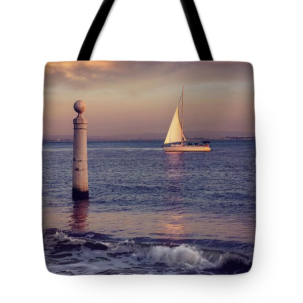 A Lisbon Sunset By The Tagus River Tote Bag by Carol Japp