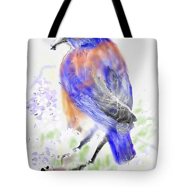 A Little Bird In Blue Tote Bag