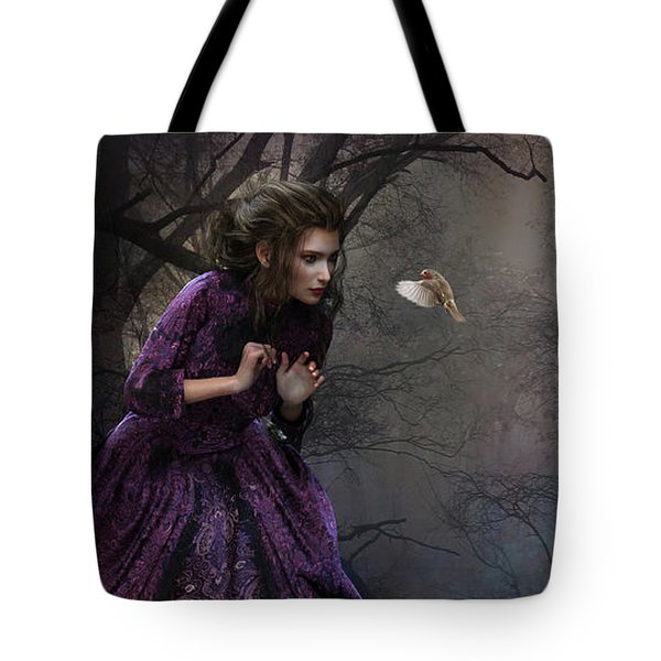 Tote Bag featuring the digital art A Little Bird Told Me by Shanina Conway