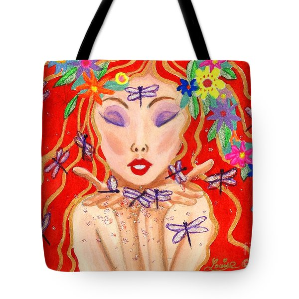 A Little Dragonfly Spell Tote Bag by Louise Green