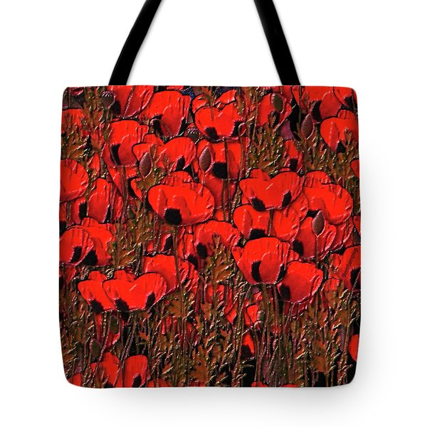 A Little Family Gathering Of Poppies Tote Bag