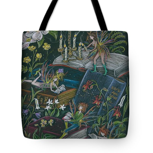 Tote Bag featuring the drawing A Little Light To Read By by Dawn Fairies