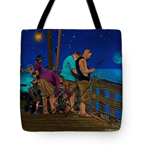 A Little Night Fishing At The Rodanthe Pier 2 Tote Bag by Anne Kitzman