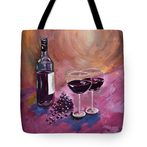 A Little Wine On My Canvas - Wine - Grapes Tote Bag