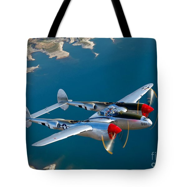 A Lockheed P-38 Lightning Fighter Tote Bag