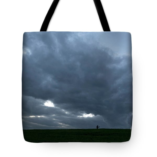 Alone In The Face Of The Storm Tote Bag