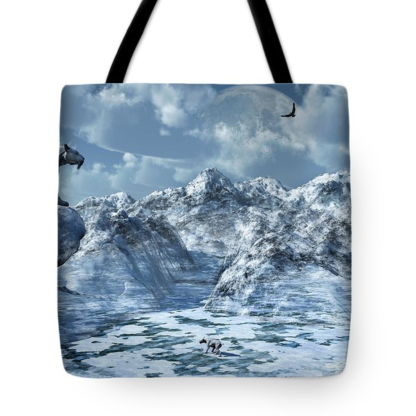 A Lone Sabre Toothed Tiger Perched Tote Bag by Mark Stevenson