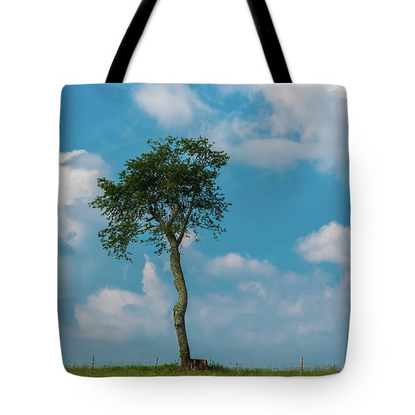 Tote Bag featuring the photograph A Lonely Tree On A Hill by Guy Whiteley