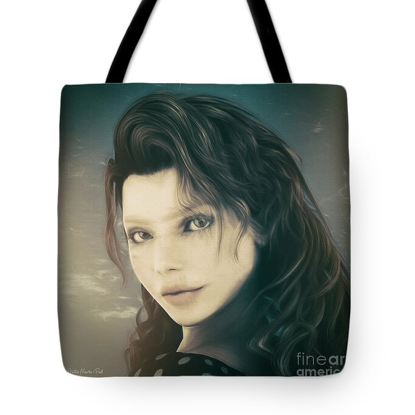 Tote Bag featuring the mixed media A Look Back by Jutta Maria Pusl