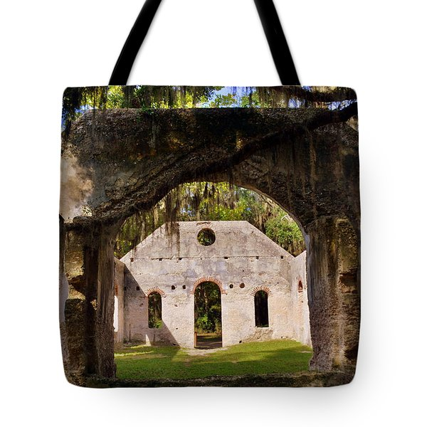 Tote Bag featuring the photograph A Look Into The Chapel Of Ease St. Helena Island Beaufort Sc by Lisa Wooten